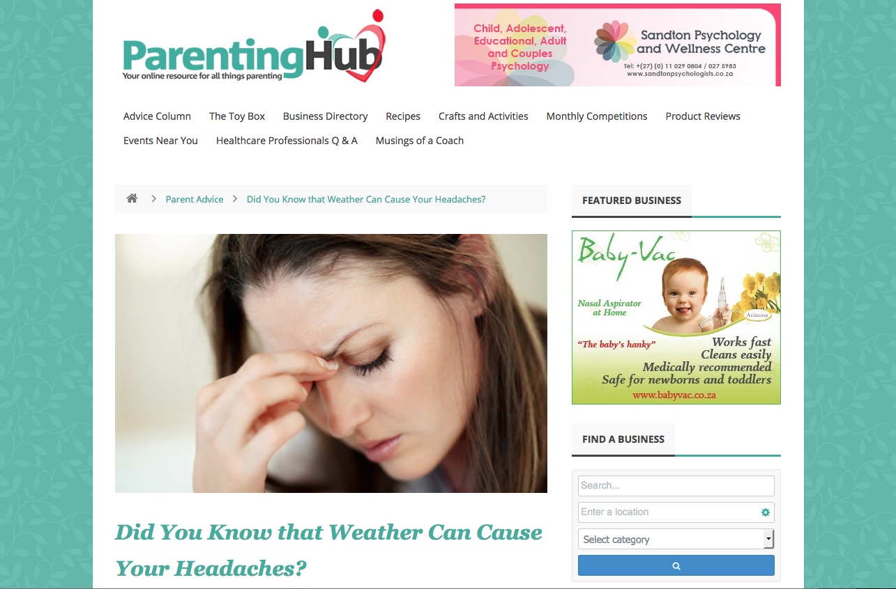 Parenting Hub Weather Can Cause Your Headaches The Headache Clinic